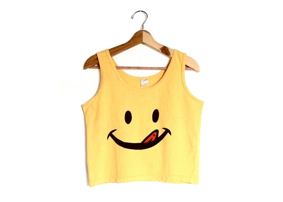 Vintage 90's Smiley Face Crop Tank Top