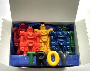 Personalized Transforming Robot Crayons gift set
