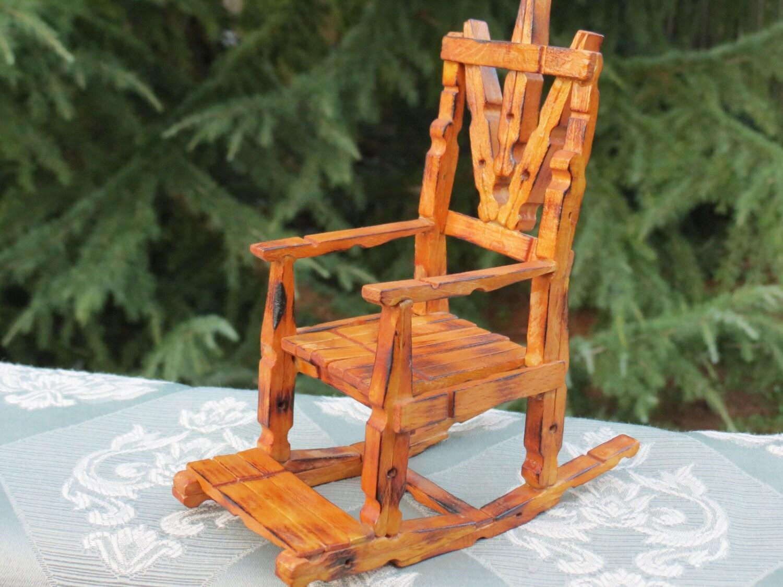 Red Rocking Chair Folk ~ Rocker clothes pin folk art primitive