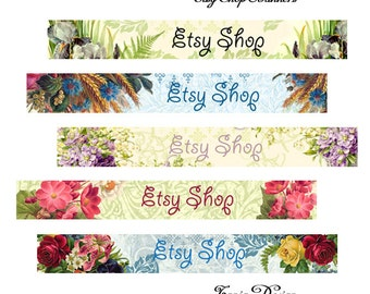 ETSY SHOP BANNERS -Flowers - Multipurpose digital images - Printable Download - Digital Collage Sheets -