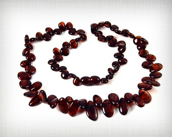Exclusive Baltic Amber Necklace Cognac color Scattered Pieces 47 cm 18 inches