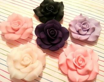 42mm Clay Flowers Cabochon  3 pcs