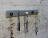 Jewellery rack Handmade in Kent set on painted pine ready to hang, available in different colours.