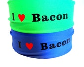 4' wide running headband  I Heart Bacon