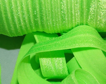 10 Yards KEY LIME Shiny Bright Fold Over Elastic FoE 5/8 inch Fabric - Emi Jay Material - DIY Hair Ties and Headbands Soft Stretchy No Pull