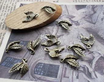 42% Off 100pcs 10x15mm Antique Bronze Leaves Charms Pendants AC725