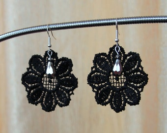 Black lace earrings with silver crystal