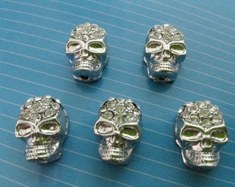10 pcs Diamonte skull shamballa beads  premium crystal gothic  ( c333)
