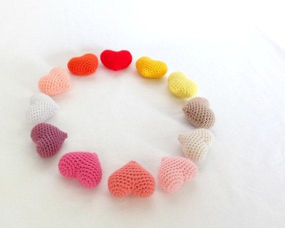 Handmade amigurumi crochet ornament heart in a vast variety of