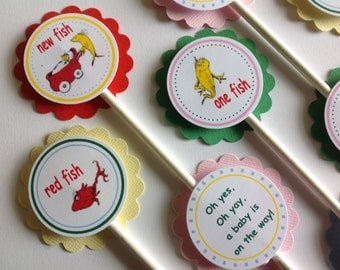 One Fish Two Fish Baby Shower Cupcake Toppers - Dr. Suess Personalized Toppers