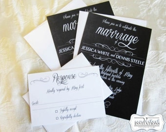 Wedding Invitation Set - Chalkboard