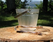 Mid Century Modern Ice Bucket with Tongs - Barrel Shaped