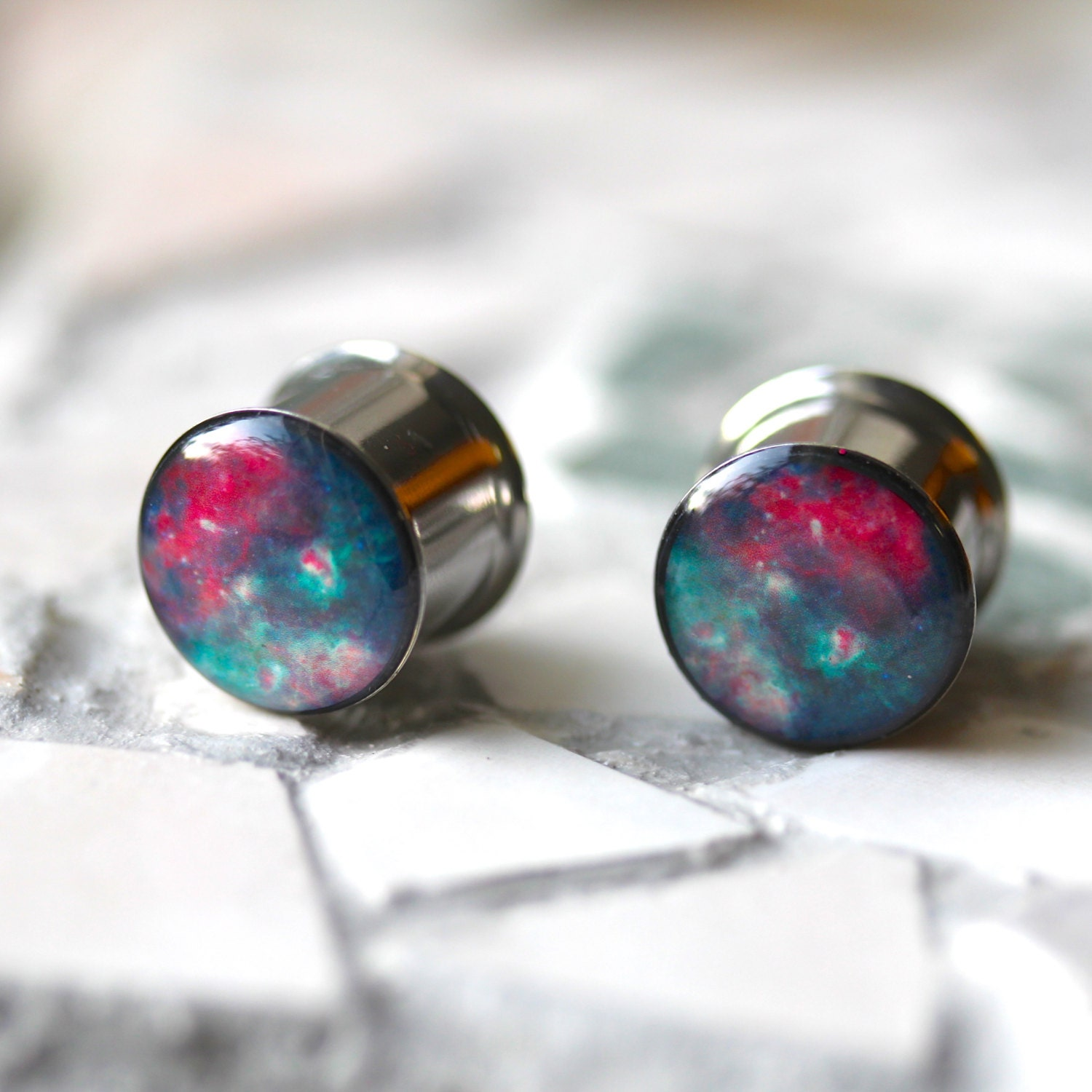 nebula gauges space ear plugs geeky gauges by silverpeakplugs