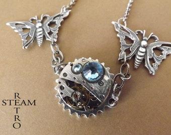 10% off sale16  Clockwork Butterfly Steampunk Necklace - Steampunk Jewellery by Steamretro -personalized jewelry