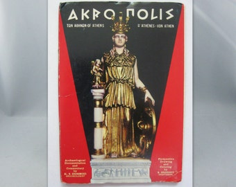 Age old map guide: Acropolis Athens Greece. Vintage