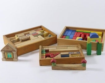 1940s to 80s: toys wooden toys blocks building sets building blocks building block boxes. 3 pieces. Vintage