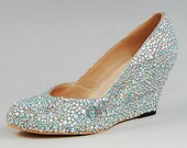 Handmade Shoes Swarovski Crystal wedding shoes 6.5cm wedge heel shoes  Wedding Bridal Bridesmaid Party    (MORE COLORS AVAILABLE)