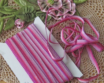 "Rayon Picot Ombre Ribbon - 1/4"" Wide - Great for Ribbonwork, Crafting & Sewing"