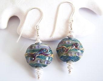 Blue Tan and Lavender Artisan Lampwork Earrings - Item E1631