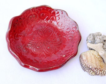 Ceramic plate red for serving,candle,soap,ring holder,earring