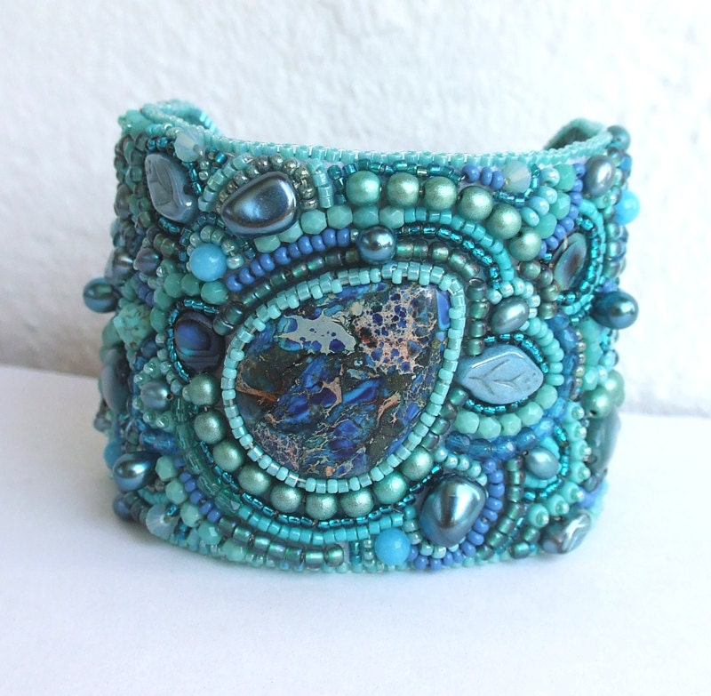 Embroidered Beads: 20% OFF Bead Embroidery Bracelet Cuff Swarovski Crystals