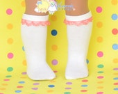 "White with Watermelon Pink Lace Trim Cotton Doll Socks for 18"" American Girl dolls"