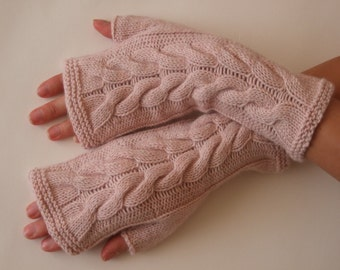 Knitted of CASHMERE, ANGORA and MERINO wool. Especially soft light pink fingerless gloves, fingerless mittens. Handmade.Last one.
