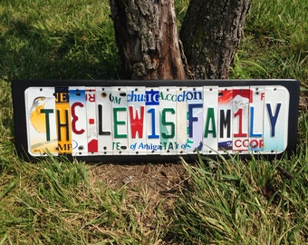 Custom Personalized FAMILY NAME Sign made from Recycled License Plates