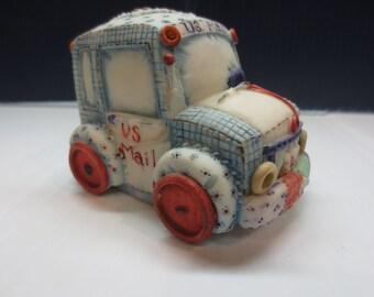 Vintage Enesco Patchwork Mail Truck Music Box