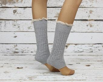 Leg Warmers gray leg warmers,Knit Leg Warmers Cotton Leg warmers,Knit Lace trim,Legwarmers,women legwarmers,  boot warmers,  sock
