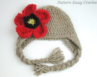 Crochet Pattern Hat with flower in 7 sizes from newborn to adult