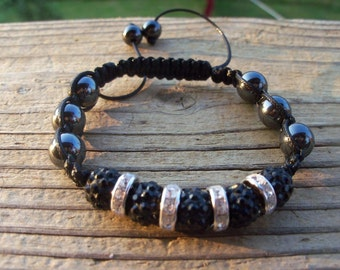 Black Shamballa Bracelet, Magnetic Hematite, More Colors