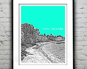 1 Day Only Sale 10% Off - Cook Islands Poster Art Skyline Print New Zealand