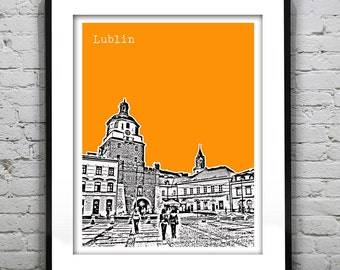 Lublin Poland Poster Print Cracow Gate Old Town Art Skyline