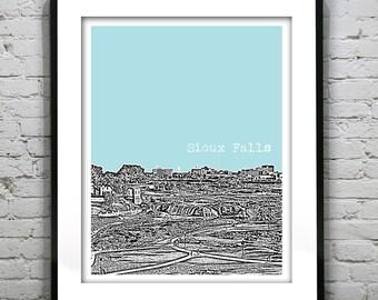 Sioux Falls South Dakota Poster Print Art  Skyline Downtown SD