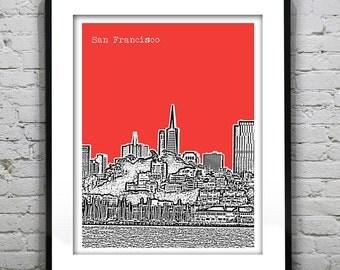 San Francisco Poster Print Skyline San Francisco Bay California Art CA Version 4