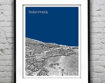Dubrovnik Skyline Poster Art Print Dalmatia The Old Wall