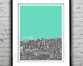 Granada Spain City Skyline Poster Art Print
