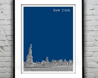 New York City NY Skyline Art Print Poster NYC Statue of Liberty Version