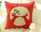 Romantic kiss deer Style Pillow cover/Decorative throw pillow/Throw cushion/Cushion cover/Pillowcase/Decorative pillow cover/scatter cushion