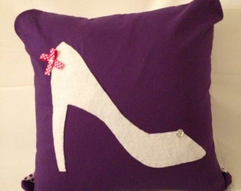 High Heels Purple Pillow with Jewels