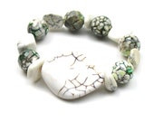 White Grey Stretch Bracelet,  Agate Howlite (Magnesite) Bracelet, Women's Handmade Jewlery by elle and belle