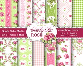 Pink & Mint Shabby Chic Digital paper 12 x 12 in AND 8.5x11 in -Shabby chic rose for scrapbooking, invites, cards