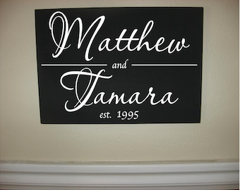 Custom Personalized Wooden sign-Custom Names Date Established Line
