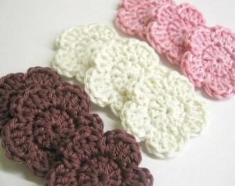 Handmade crocheted cotton flower appliques set of nine pink cream brown
