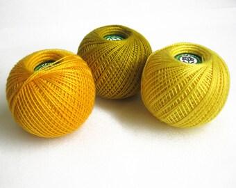 Cotton crochet thread, 3 balls, yellow mix, 25 g per ball