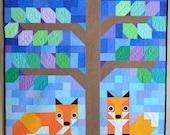 Modern Quilt for Sale, crib, baby, gender neutral, unisex, boy or girl, quilt, Kona solids, fox, tree, animal, blue, green, brown, orange