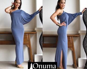 Gray one shoulder Long sleeve evening long dress Elegance all size