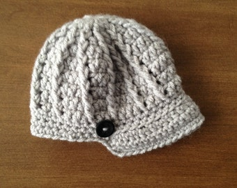 Boys Brimmed Crocheted Hat With Button