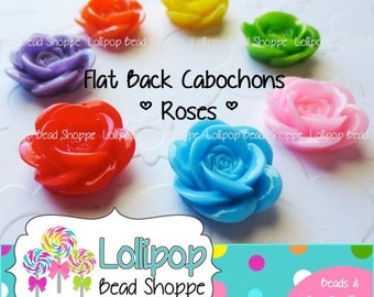 FLAT BACK Roses Resin Cabochons Rose Cabochon 18mm 10ct Cameo-No Hole-Multicolor Flower Cabochons Colorful Decoden DIY Cell Phone Case